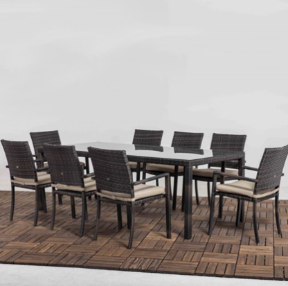 TERRACE CARMEN DINING SET 8 SEAT MIXED BROWN